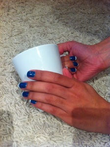 blue white manicure